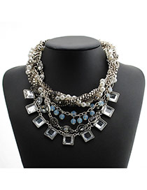 Vintage Silver Color Square Shape Gemstone Decorated Multi-layer Simple Necklace