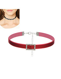 Fashion Red Hollow Out Square Shape Decorated Simple Width Choker