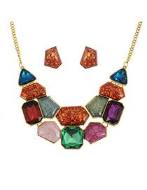 Elegant Multi-color Geometric Shape Gemstone Decorated Simple Jewelry Sets