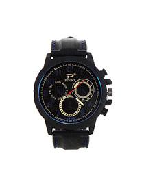 Fashion Sapphire Blue Big Digital Decorated Pure Color Strap Big Dial Design Watch
