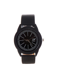 Fashion Black Color Matching Decorated Big Dial Design Simple Watch
