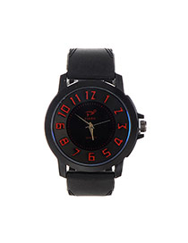 Fashion Red Big Digital Decorated Pure Color Strap Big Dial Design Watch