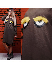 Lovely Khaki Cartoon Eyes Decorated Long Sleeve Plus Velvet Long Dress