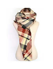 Fashion Brown Grid Pattern Decorated Tassel Design Color Matching Scarf