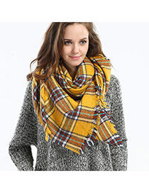 Fashion Yellow Grid Pattern Decorated Color Matching Simple Scarf