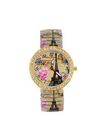 Fashion Khaki Iron Tower&flower Pattern Decorated Large Dial Design Strech Watch