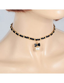 Fashion Black Pearls Pendant Decorated Bowknot Shape Simple Choker