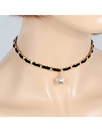 Fashion Black Flower Shape Pendant Decorated Simple Choker