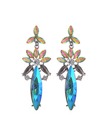Fashion Blue Oval Shape Diamond Decorated Flower Shape Simple Earrings