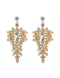 Fashion Gold Color Oval Shape Diamond Decorated Hollow Out Design Earrings