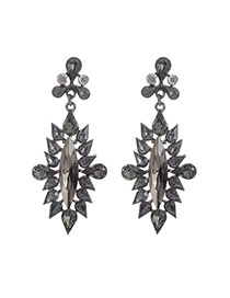 Fashion Black Water Drop Shape Diamond Decorated Hollow Out Design Earrings