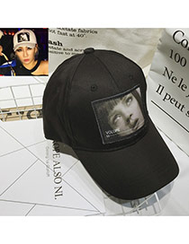 Fashion Black Human Face Pattern Decorated Simple Baseball Hat