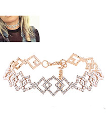 Elegant Gold Color Square Shape Decorated Hollow Out Simple Choker