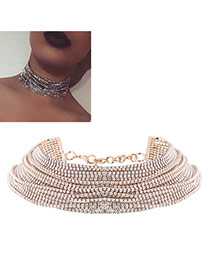 Brilliant Gold Color Round Diamond Decorated Simple Mutilayer Choker