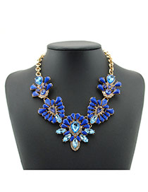 Elegant Blue Oval Shape Decorated Simple Short Chain Necklace