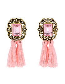 Vintage Pink Tassle Pendant Decorated Square Shape Simple Earrings