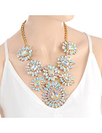 Fashion Multi-color Geometric Shape Diamond Decorated Short Chain Necklace