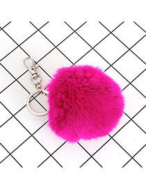 Lovely Plum Red Fuzzy Ball Decorated Simple Key Ring