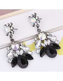 Fashion Black Geometric Shape Diamond Decorated Simple Earrings