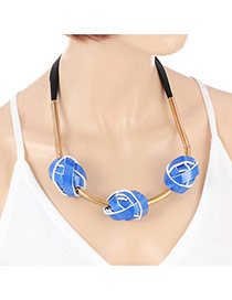 Exaggerate Blue Three Round Shape Decorated Simple Short Chain Necklace