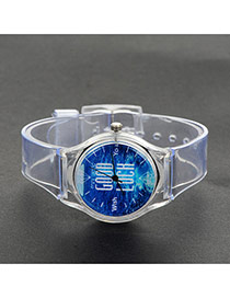 Fashion Blue Letter Pattern Decorated Simple Wrist Watch