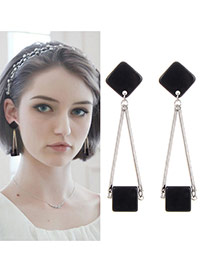 Elegant Silver Color Square Shape Pendant Decorated Tassel Earing