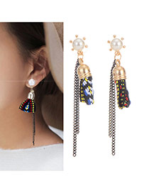 Elegant Gold Color Chain Shape Decorated Tassel Earring