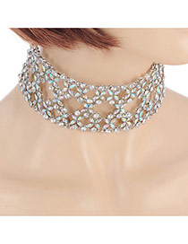 Fashion Multicolor Alloy Ab Color Single Layer Hollow Collar