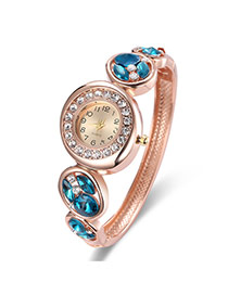 Fashion Rose Gold Diamond Decorated Round Dial Design Color Matching Watch