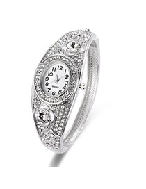 Fashion Silver Color Full Diamond Decorated Hollow Out Design Pur Color Watch