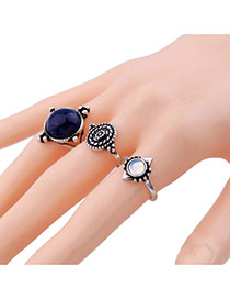 Vintage Blue Oval Shape Gemstone Decorated Geometric Shape Ring