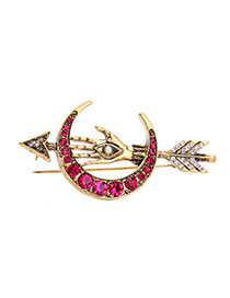 Fashion Gold Color+red Round Shape Diamond Decorated Moon Shape Brooch