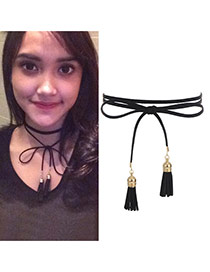 Elegant Black Double Tassle Pendant Decorated Multilayer Chocker