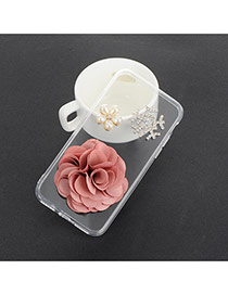 Sweet Pink Pearl&flower Decorated Transparent Iphone7 Case
