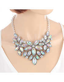 Fashion Multicolor Oval Shape Decorated Color Matching Flower Shape Necklace