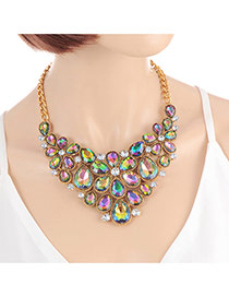 Fashion Green +plum Red Water Drop Shape Diamond Decorated Hollow Out Flower Design Necklace