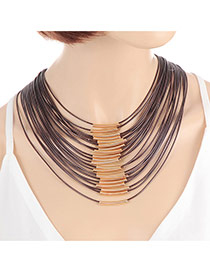 Fashion Brown Color Matching Decorated Multi-layer Design Magnet Necklace