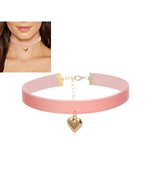 Fashion Pink Heart Pendant Decorated Color Matching Width Choker
