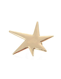 Fashion Gold Color Star Shape Design Pure Color Simple Ring