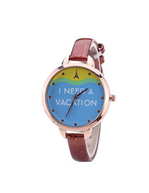 Fashion Red Letter Pattern Decorated Round Dail Thin Strap Woman Watch