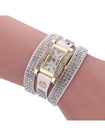 Fashion White Diamond Decorated Square Shape Dial Multi-layer Watch
