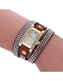 Fashion Brown Diamond Decorated Square Shape Dial Multi-layer Watch