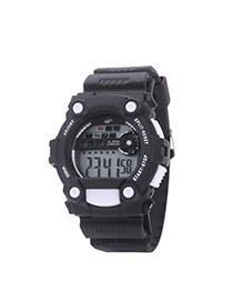 Fashion White Letter Pattern Decorated Round Dail Pure Color Strap Waterproof Watch