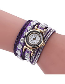Fashion Purple Diamond Decorated Round Shape Dial Multi-layer Watch
