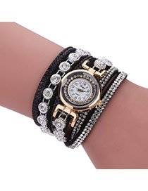 Fashion Black Diamond Decorated Round Shape Dial Multi-layer Watch