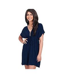 Fashion Dark Blue Pure Color Decorated Short Sleeve V Neckline Long Dress