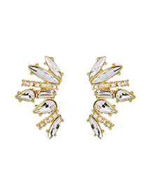Fashion Gold Color Water Drop Shape Diamond Decorated Simple Earrings