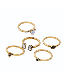 Fashion Gold Color Oval Shape Diamond Decorated Simple Opening Ring(5pcs)