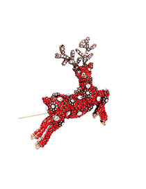 Fashion Red Diamond Decorated Deer Shape Design Simple Brooch