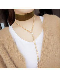 Fashion Brown Long Tassel&pearl Pendant Decorated Double Layer Simple Necklace